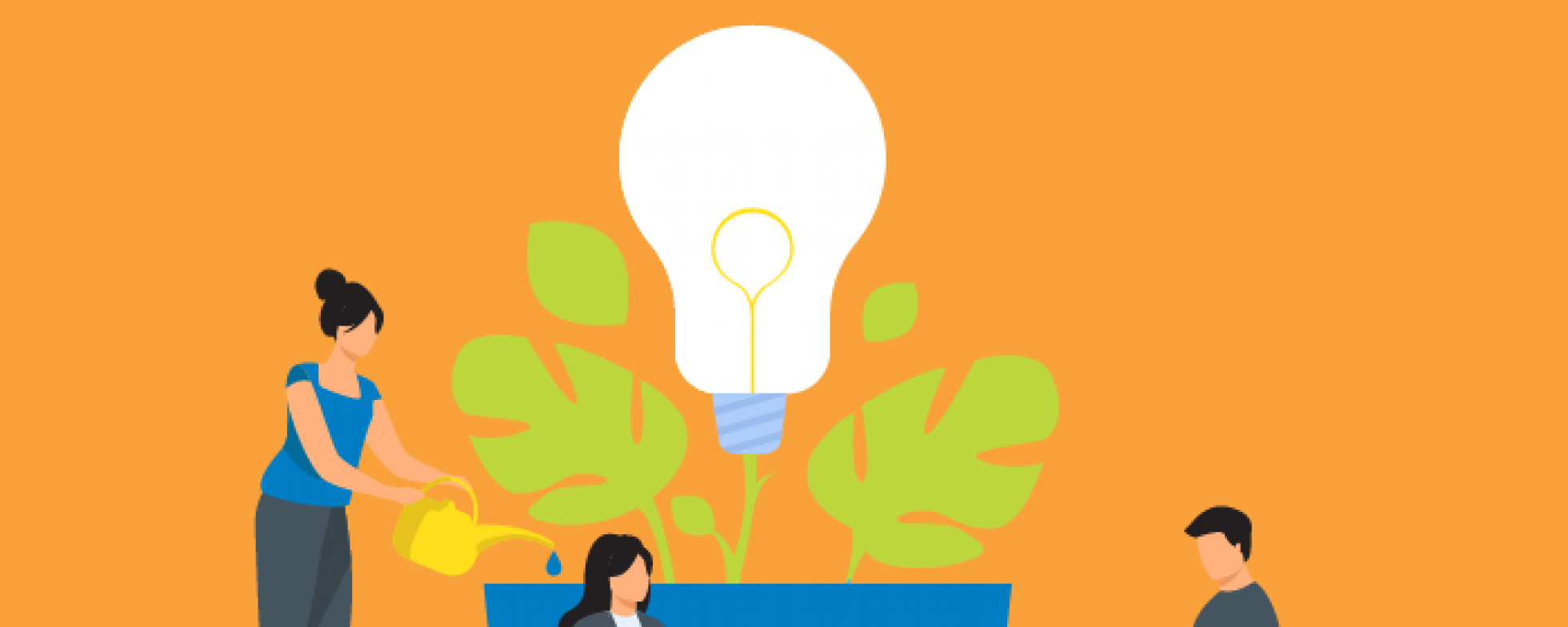 People growing a lightbulb idea in a planter